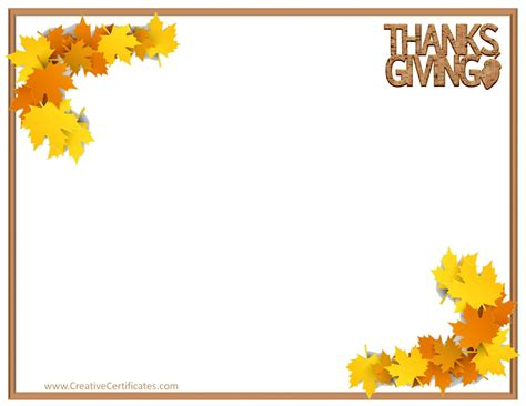 thanksgiving card template word free free thanksgiving border templates customizable printable