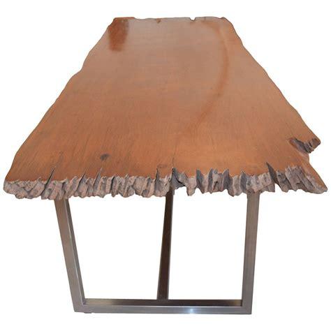 Teak Slab Dining Table Andrianna Shamaris Live Edge Teak Wood Single Slab Dining Table For Sale At 1stdibs
