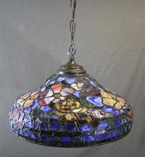 Stained Glass Light Fixtures by Vintage Somers Stained Glass Hanging L Shade