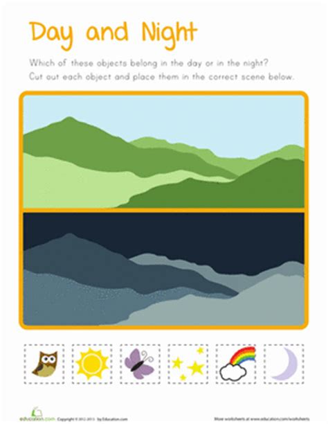 kindergarten activities day and night day and night for kids worksheet education com