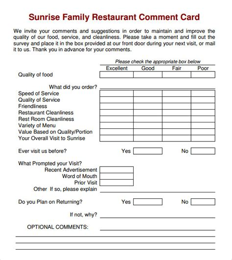 comment card templates for restaurants 11 comment cards pdf word adobe portable documents