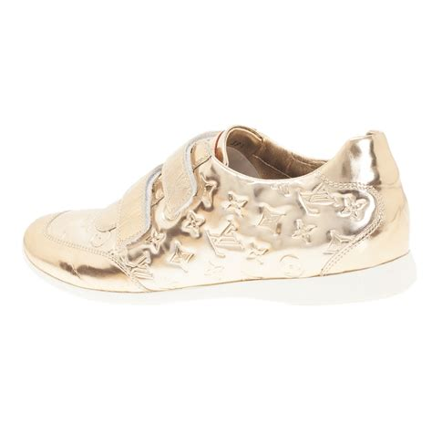 louis vuitton metallic gold monogram mirror tennis shoes
