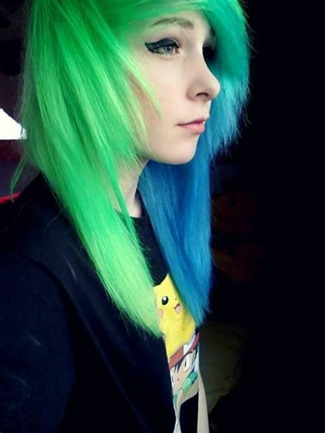 hair green blue awesome blue and green hair scene queen emo punk