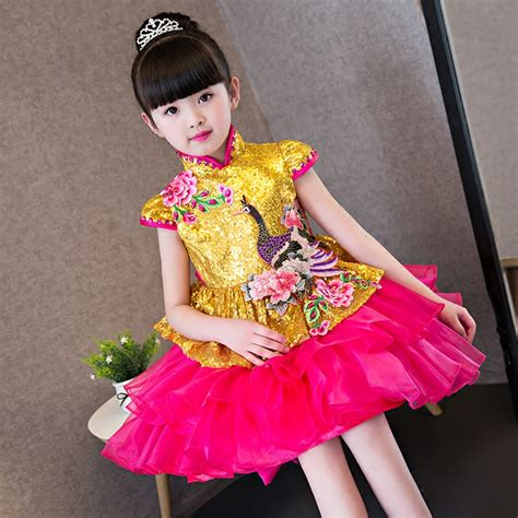 Dress Batik Anak Obral 1 2017new modern fashion embroidery cheongsam princess dress wedding qipao cheongsam