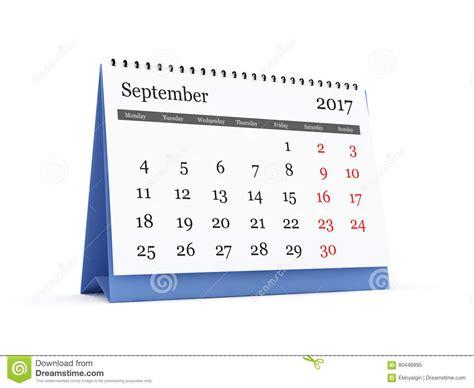 desk calendar 2017 18 desk calendar 2017 september stock illustration image