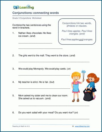 connecting words  conjunctions worksheets  learning