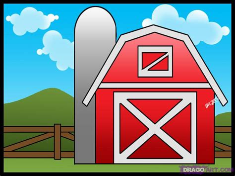 How To Draw A Barn how to draw a barn step by step buildings landmarks