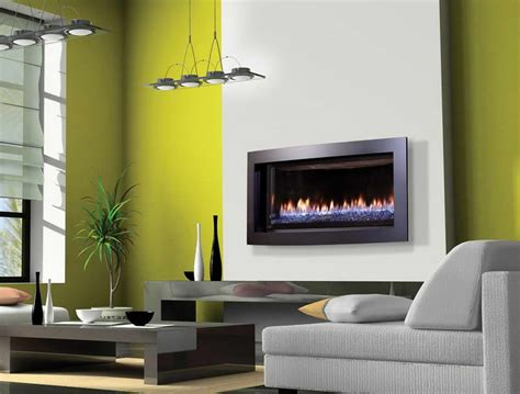 decoration contemporary gas fireplace design with green