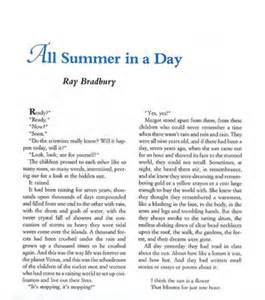 All Summer In A Day Essay all summer in a day by bradbury reviews discussion bookclubs lists