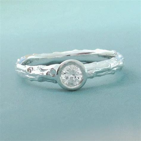 twig engagement ring with moissanite sterling silver
