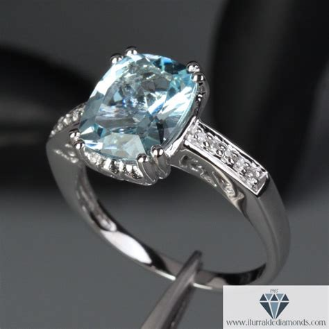 cushion cut aquamarine antique style pave