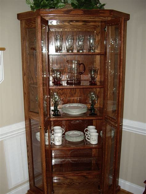 small corner china cabinet custom qak corner china cabinet by d n yager woodworks