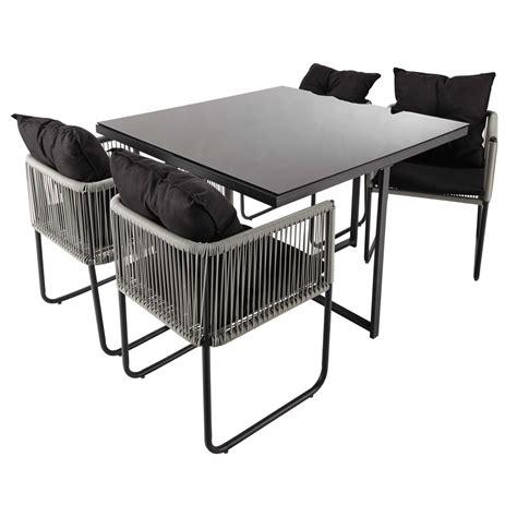 table de jardin  chaises de jardin en resine  tissu noir   cm swann maisons du monde