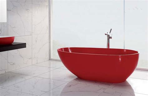 luminous red free standing bath tub delivered