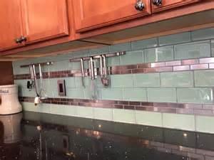 stainless steel 1 quot x 3 quot and surf glass kitchen backsplash kitchen backsplash designs picture gallery designing idea