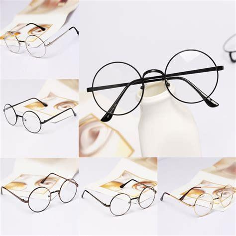 Hls Kacamata Fashion Wanita Vintage kacamata retro bulat fashion wanita black