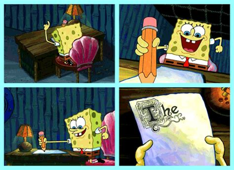 spongebob writing paper spongebob writing an essay