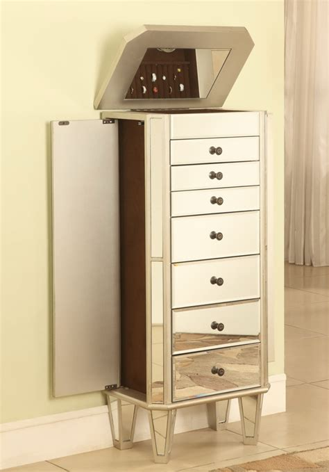jewelry armoire silver powell mirrored jewelry armoire with silver wood pw 233