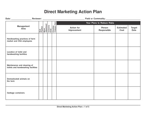 6 marketing action plan templates excel website