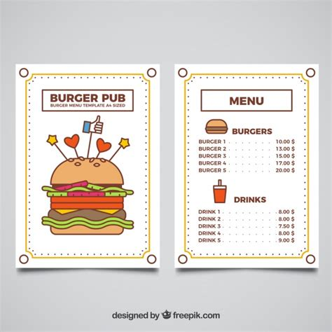 burger menu template burger menu template with colored elements vector free