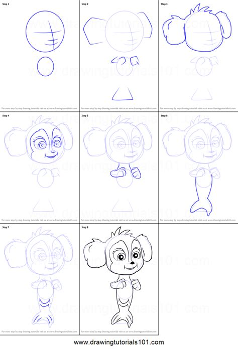 paw patrol mer pup coloring page how to draw baby mer pup from paw patrol printable step by