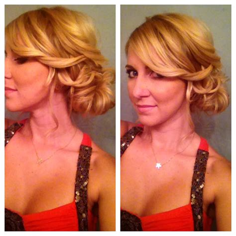side bun updo for medium hair or long hair youtube