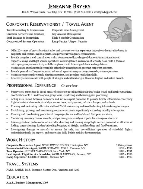 resume sle for corporate reservationist travel