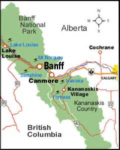 map of banff alberta canada canada map