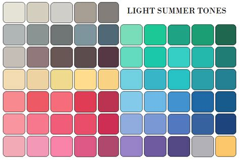 Light Summer Color Palette by Summer Palettes Brown Hairs