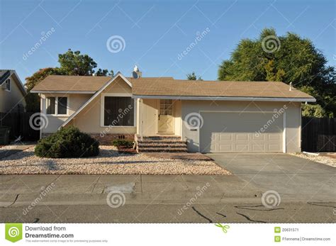 one story single family house one story with driveway stock image