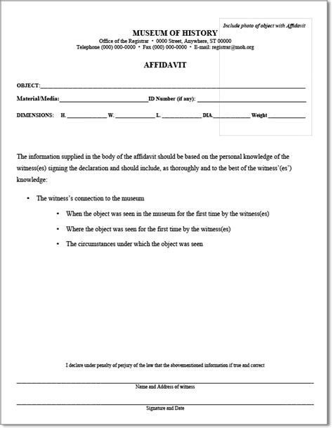 simple template sle of standard affidavit form with