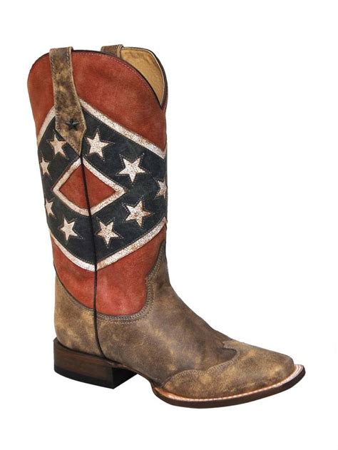 mens rebel flag boots s roper southern flag square toe boot 09 020 7001 0131