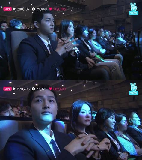Setelan Kemeja Dan Dress Songsong cieee song joong ki song hye kyo duduk sebelahan di korea popular culture and arts awards