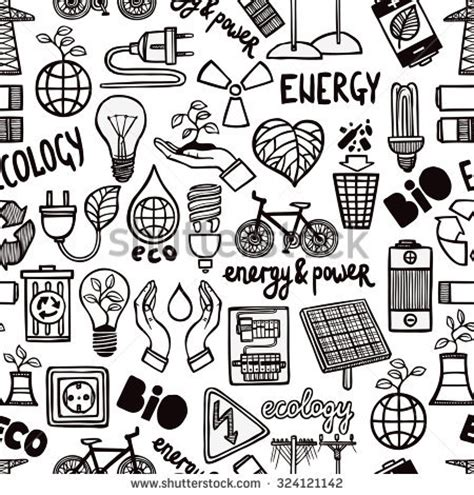 doodle how to make energy ecology doodles icons vector set vector stock vector