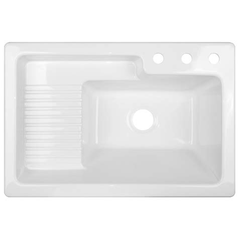 acrylic sinks at lowes shop corstone white acrylic self laundry sink at