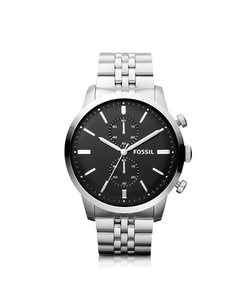 Fossil Fs0111 Silver Black fossil townsman chronograph silver stainless steel mens
