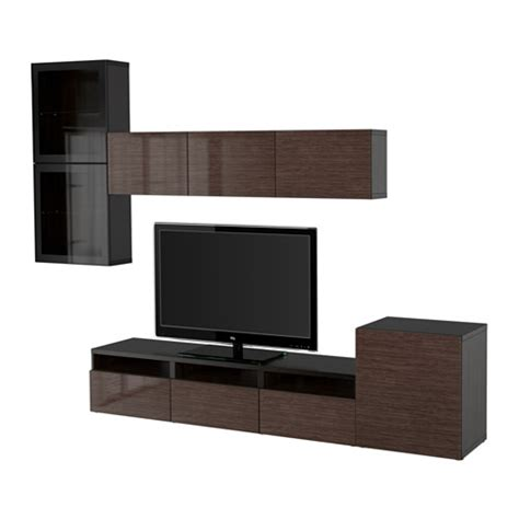 ikea besta black gloss best 197 tv storage combination glass doors black brown selsviken high gloss brown