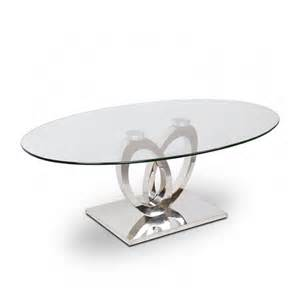 table basse inox et verre ellipse