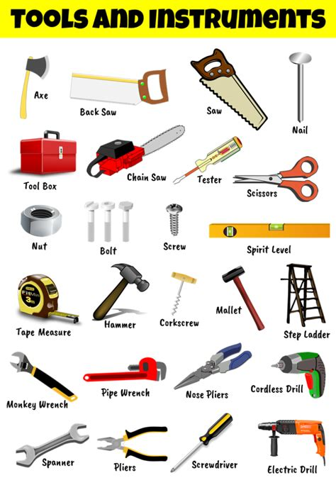 chart  tools  equipments names  pictures