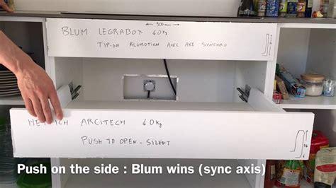 blum legrabox tip on blumotion vs hettich arcitech push to