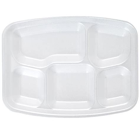 white foam fast food tray 5 compartment divided lunch tray