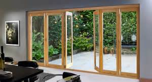 Tri Folding Patio Doors Bi Fold Glass Exterior Doors With Wooden Frame For Small