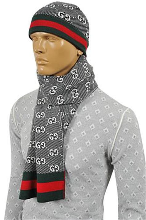 mens designer clothes gucci mens hat scarf set 124