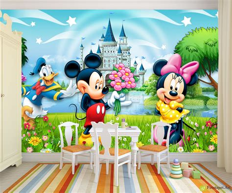 children s wallpaper amp wall murals mickey mouse and his