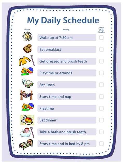 Creating Structure Activities Essentials Parenting Information Cdc My Daily Schedule Template