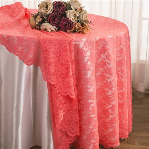 lace table overlay coral lace table overlays linens toppers