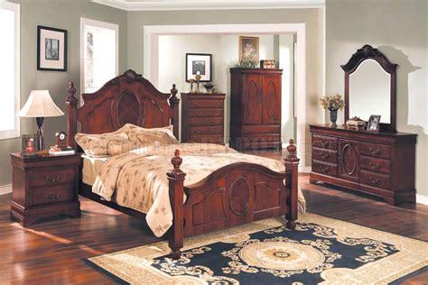 mahogany bedroom with oversized headboard