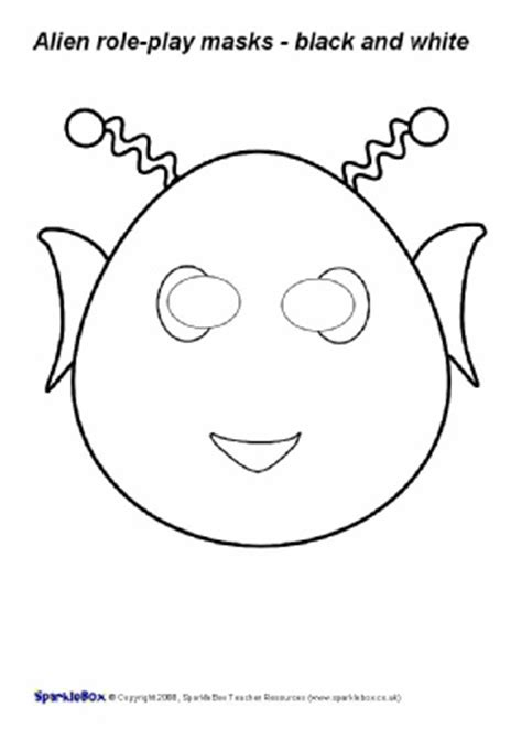 printable alien mask free printable colour in role play masks sparklebox