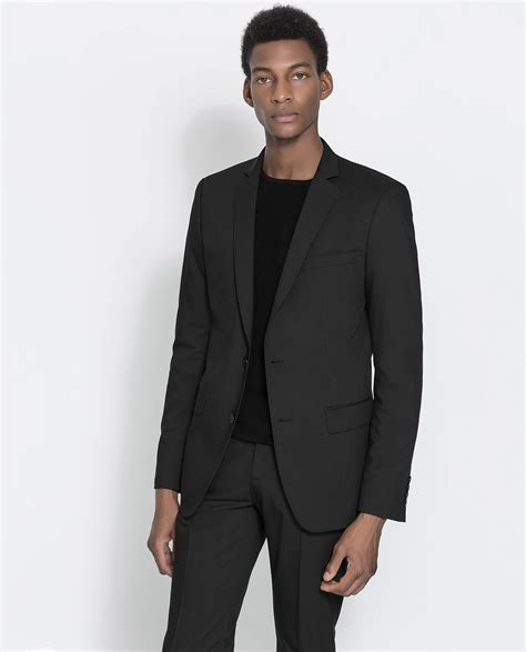 Blazer Zara Basic Zara Basic Black Blazer In Black For Lyst