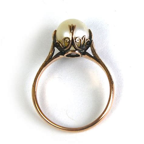 Pearl Ring by Reserved Antique Nouveau Pearl Ring Cathedral Setting 10